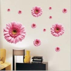 Sticker - autocolant decorativ pentru perete model crizanteme roz