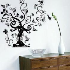 Sticker - autocolant decorativ de perete model copac mare alb-negru