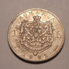 Monede Romania - 1 leu 1881 Piesa de Colectie