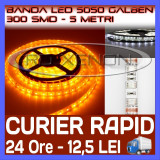 ROLA BANDA 300 LED - LEDURI SMD 5050 GALBEN (GALBEBA, GALBENE) - 5 METRI, IMPERMEABILA (WATERPROOF), FLEXIBILA ZDM
