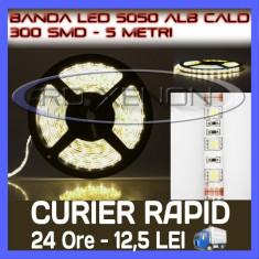 Iluminat decorativ ZDM - ROLA BANDA 300 LED - LEDURI SMD 5050 ALB CALD (ALBA, ALBE) - 5 METRI, IMPERMEABILA (WATERPROOF), FLEXIBILA