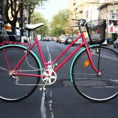 Semicursiera - Bicicleta de oras, 24 inch, Numar viteze: 3, Curbat(Risebar), Fara amortizor, Fete