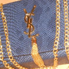 GEANTA YSL=ACCESORII AURII-FRANTA-MODEL SNAKE - Geanta Dama Yves Saint Laurent, Culoare: Albastru, Marime: Medie, Geanta de umar, Crocodil