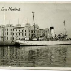 CARTE POSTALA UNICAT ANUL 1938 : CONSTANTA - GARA MARITIMA, NAVA REGELE CAROL I