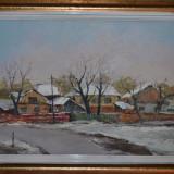 ANGHEL VASILE SIMINIUC - Pictura - Ulei pe carton - Peisaj de iarna - 60 X 45 ! - Pictor roman, An: 2014, Nud, Ulei, Realism