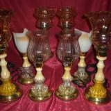 Set veioze onix metal sticla, stil Art Deco, vintage, 4 perechi