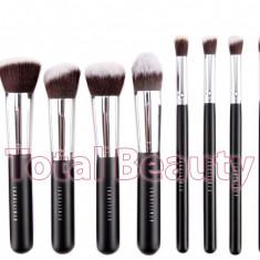 Pensula make-up - Trusa 10 pensule machiaj profesionale Fraulein38 Germania Kabuki Black Satin