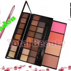 Trusa make up - Trusa machiaj 20 culori neutre, blush, pudra Fraulein38 + CADOU Creion Sprancene