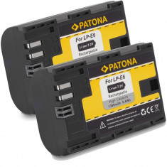 PATONA | 2 Acumulatori pt CANON LPE6 LP-E6 7D 6D 6Da 70D 60D 5D Mark II III - Baterie Aparat foto