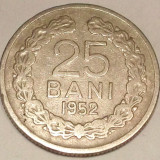 G5. ROMANIA RPR 25 BANI 1952, 3, 6 gr., Cu-Ni, 22 mm ** - Moneda Romania, An: 1952