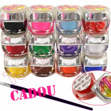 Set Kit 12 geluri UV Color Mate Lily Angel, set gel UV Color Mat + Pensula CADOU - Gel unghii
