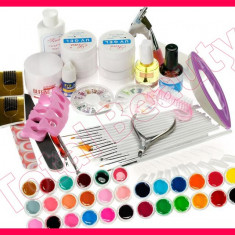 Kit set unghii false cu 30 geluri colorate UV tipsuri gel UV constructie pensule