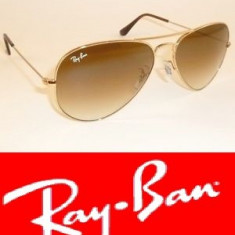 Ochelari Ray Ban aviator STICLA - Ochelari de soare Ray Ban, Unisex, Maro, Metal, Protectie UV 100%