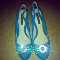 Sandale dama Zara, Piele intoarsa - Sandale ZARA