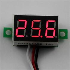 Indicator - Voltmetru digital 0-30 V - DC, auto alimentat, LED Rosu, RED
