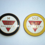 2 insigne oficiale USAS Navodari - Uzina de Superfosfati si Acid Sulfuric - Insigna, Romania de la 1950