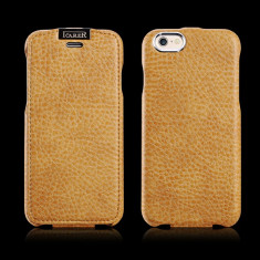Husa piele iCARER iPHONE 6, 6S flip cover clapeta, inchidere magnet, BROWN GOLD, Auriu, Cu clapeta