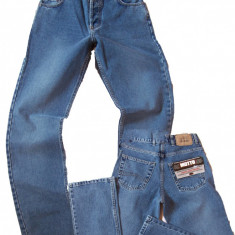 Blugi barbati clasici albastri prespalati MOTTO jeans W 30 (Art.024), Culoare: Albastru