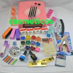 Kit set Unghii false Sina - lampa UV, pile, tipsuri - KIT 4 gel ccn + 12 gel color