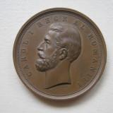 Placheta Medalie Regele Carol I Concurs de Agricultura si Industrie 1881 AUNC++ - Medalii Romania