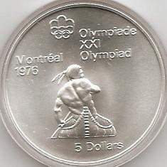 Canada 5 Dolari 1974 - Canoeing, Argint 24.3g/925, KM-92 UNC !!!, America de Nord, An: 1994