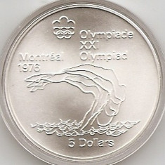 Canada 5 Dolari 1975 - Platform Diver, Argint 24.3g/925, KM-101 UNC !!!, America de Nord, An: 1975