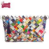 Geanta ECO multicolora din hartie / reviste (29 x 19 cm) - Geanta handmade