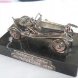 Veche Macheta Argint Automobil Epoca pe Soclu Marmura Neagra 1912 Rar Colectie, Ornamentale