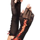 Manusi Dama - GL19-115 Manusi scurte, fara degete, accesorizate cu snur rosu