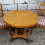Masa cu 2 scaune. Biedermeier. Lemn de mesteacan.