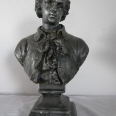 Sculptura, Antimoniu - BUST DIN ANTIMONIU PE SUPORT DE MARMURA, INALTIME 36CM