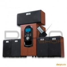 Home Cinema - Genius Boxe 5.1 Genius SW-HF5.1 6000 Wood, 200W(Subwoofer 100W+5 sateliti*20W), Telecomanda, LCD Display, 6
