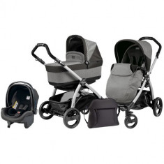 Carucior 3 in 1 Book Plus Black Silver POP-UP Atmosphere - Carucior copii 2 in 1 Peg Perego