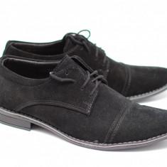 Pantofi barbati - Pantofi negri casual - eleganti barbatesti din piele intoarsa cu siret - Made in Romania