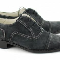 Pantofi barbati piele naturala (Intoarsa) casual-eleganti / Pantofi piele intoarsa Gri inchis Made in Romania