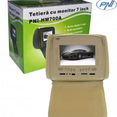 DVD Player Portabil - Resigilat - Tetieră 7 inch PNI HM700A-Y bej cu fermoar