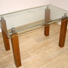 Masa bucatarie sticla cu picioare de stejar