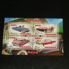 Timbre straine, Stampilat - Colita stampilata - TEHNIC - Masini vechi - Pontiac, Cadillac - RWANDA - 2013 - 2+1 gratis toate produsele la pret fix - RBK7787
