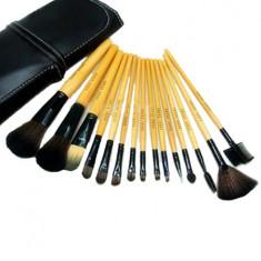 Set 15 Pensule Profesionale cu Borseta eleganta din piele ecologica - Pensula make-up