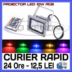 Iluminat exterior ZDM - PROIECTOR RELFECTOR LED 10W - RGB CU TELECOMANDA - REZISTENT LA APA IP65 - ILUMINARE DECORATIVA - ALIMENTARE 220V