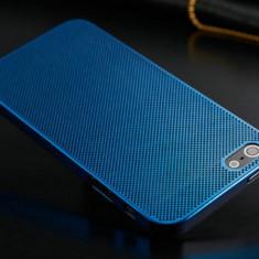 Husa/toc, aluminiu perforat, iPhone 5/5S Lux, Albastra - ultrasubtire 0.3mm. - Husa Telefon Apple, Albastru, Metal / Aluminiu, Carcasa