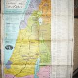 Harta lui Pilgrim -a Tarii Sfinte pt studiu biblic al drumurilor si faptelor lui Iisus - Ed. 1942 Ierusalim