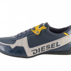Adidasi Diesel, din piele, pentru barbati - Adidasi barbati Diesel, Marime: 44, Culoare: Albastru, Piele naturala