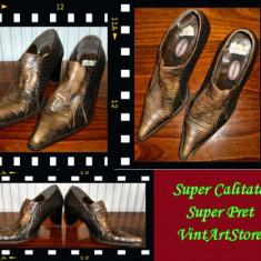 Pantof dama Made in Italia piele de sarpe Graceland Italia masura 38 - Super Pret, Culoare: Maro, Piele naturala
