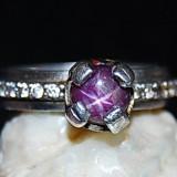 Inel superb argint 925 model logodna cu piatra naturala de rubin stelat! anturaj zirconii! marime mica! - Inel argint