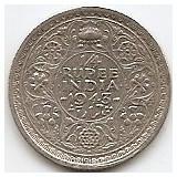 India Britanica 1/4 Rupee 1943 Argint 2.92gr-0.500, George VI KM-546, Asia, An: 1943