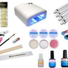 Unghii false - Kit manichiura pentru incepatori cu Lampa uv, geluri uv, primer, top coat finish, pila, tipsuri, pensula pentru gel etc
