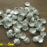 Ustensile - Set 10 decoratiuni metalice scoici argintii 5mm pentru unghii nail art ***nou