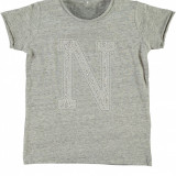 Tricou fete 4-12 ani - Name It - 13112396 gri cu paiete