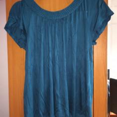 Bluza H&M verde turcoaz impletita tricou top maneca scurta marimea L bumbac - Tricou dama Zara, Marime: L, Casual